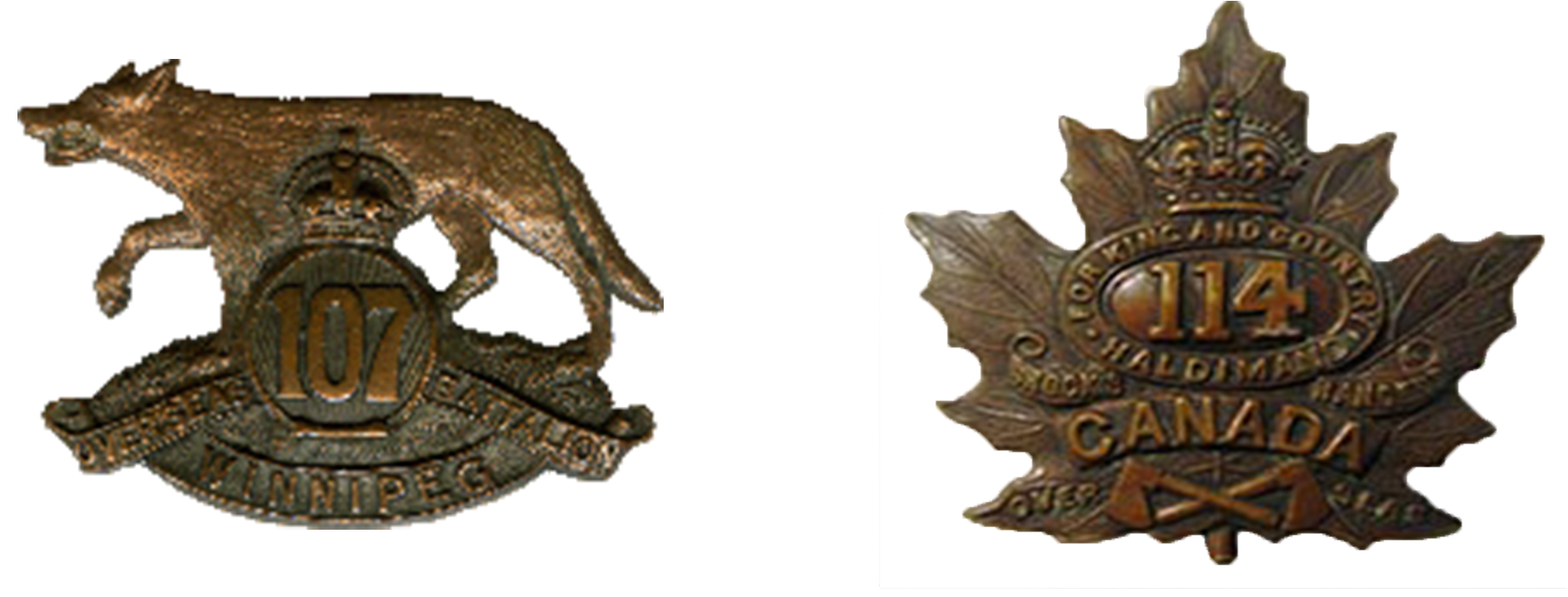 107th Timber Wolf (left) and 114th Brock's Rangers (right) Battalions badges, CEF